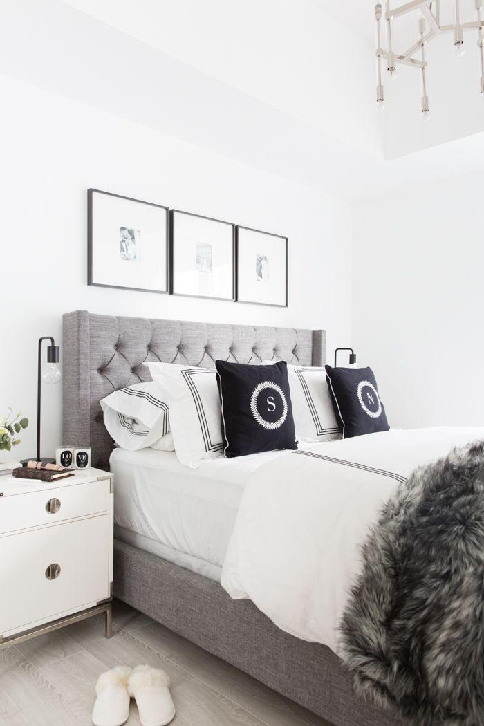 Grey Tufted Headboard Master Bedroom Interior Gray Master Bedroom Master Bedroom Interior Design Bedroom ideas gray headboard
