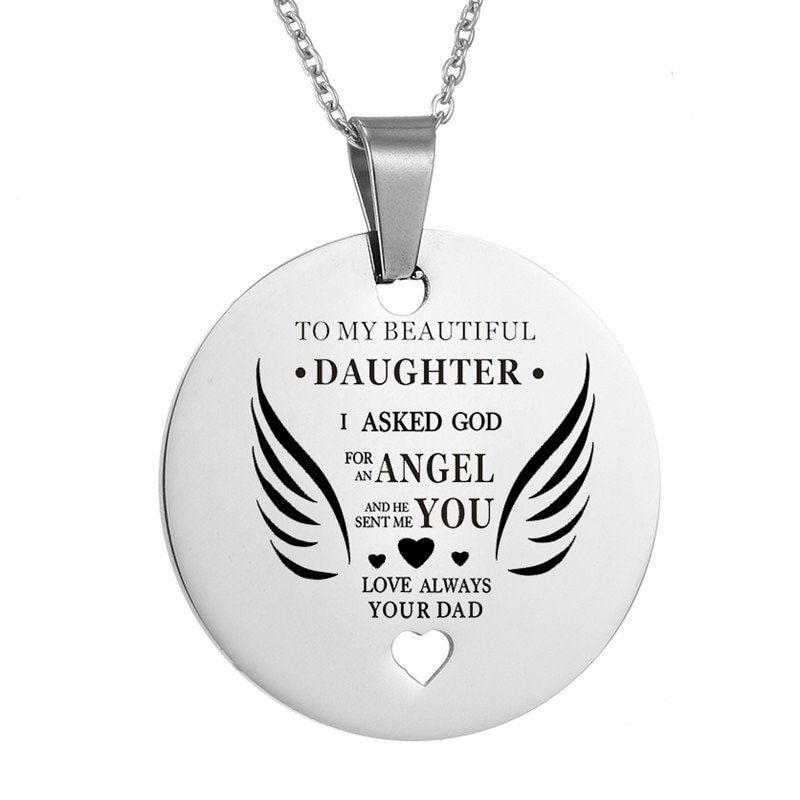 To My Beautiful Daughter Heart Pendant Necklace Dad S