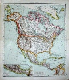 Antique Map North America Mexico 1890 United States Of America