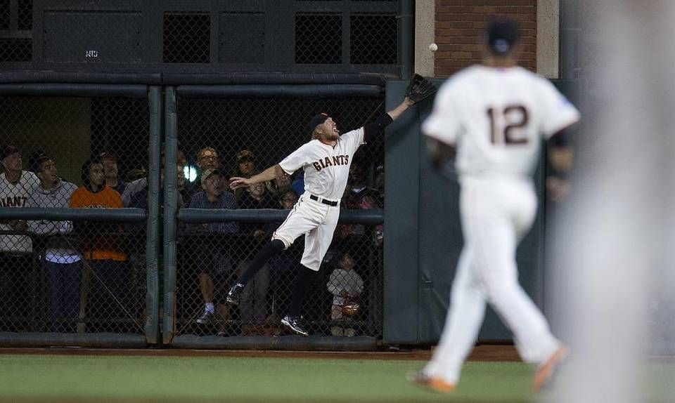 Fans In The Standing Room Only Area At ATT Park Watch Giants