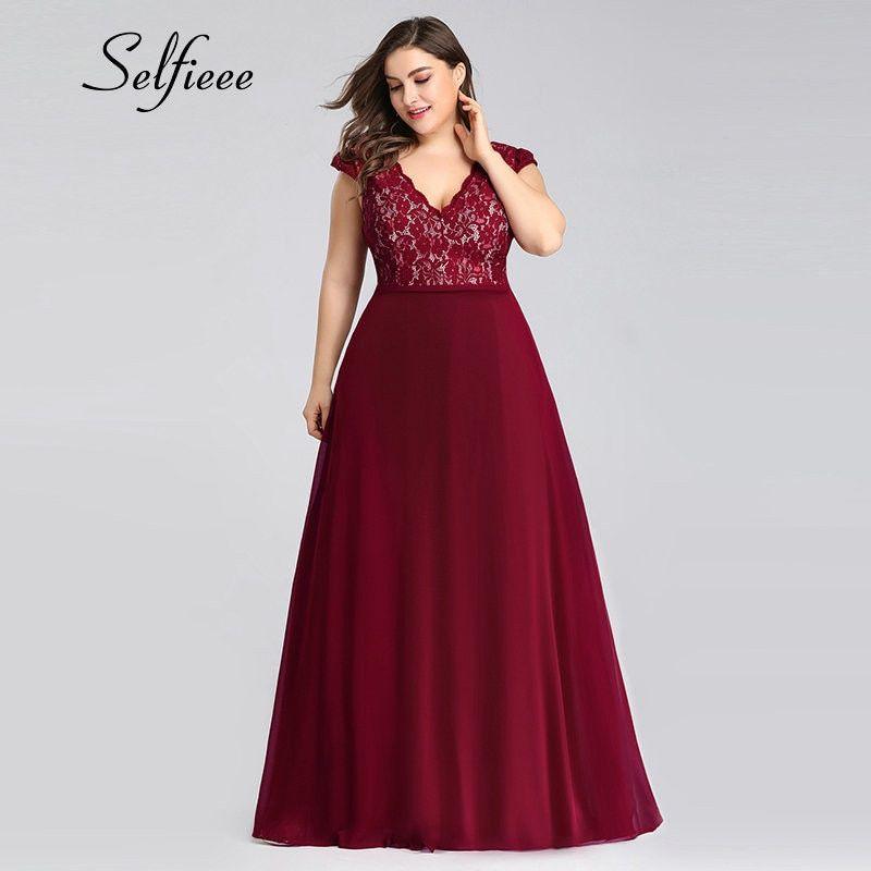 Maxi Long Lace Cap Sleeve Elegant Plus Size Evening Gowns