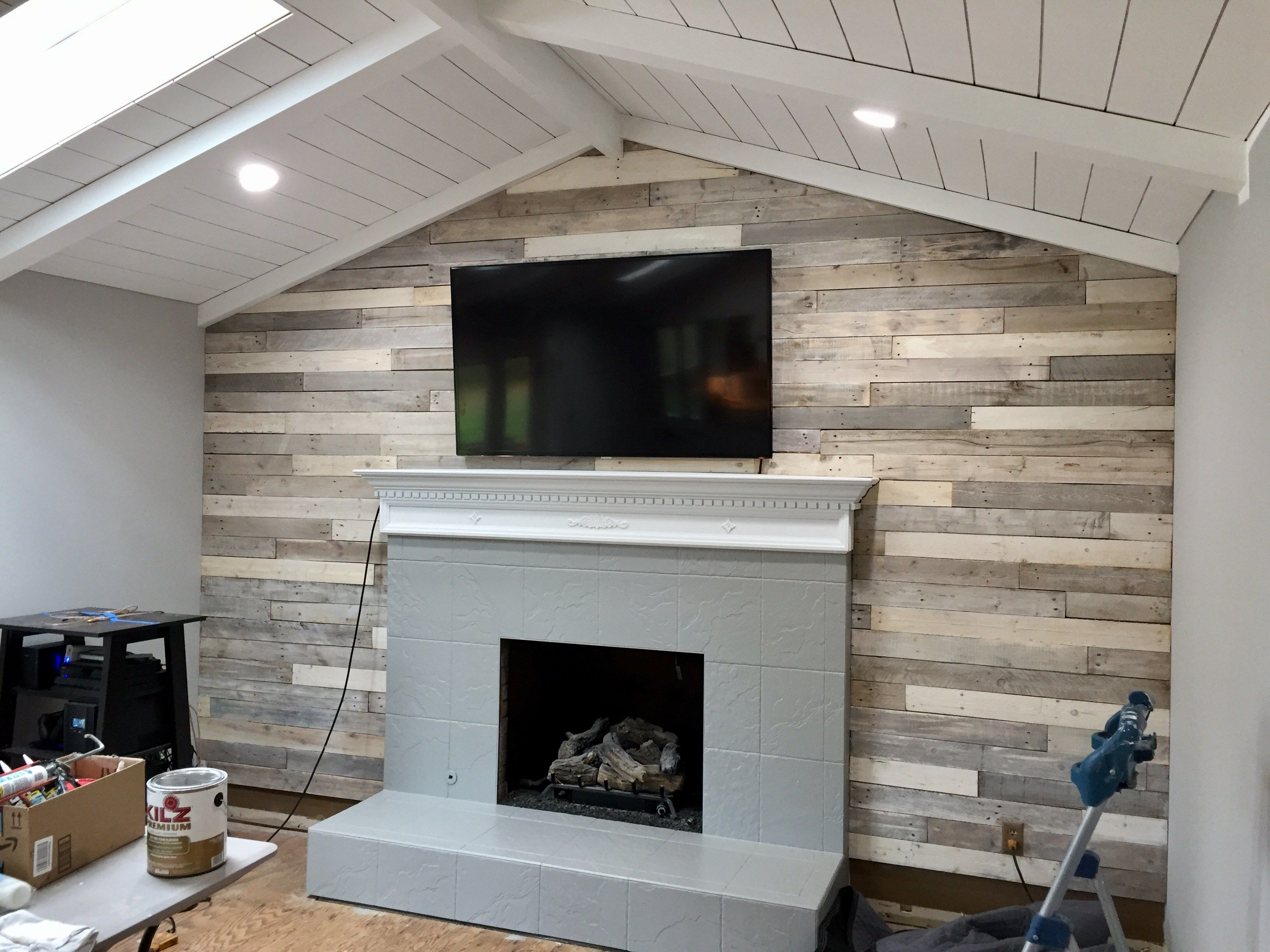 Chalk Paint Gray Weathered Whitewashed Wood Shiplapwalls And Pallet Accent Walls Are Some Of Our Featured Projects