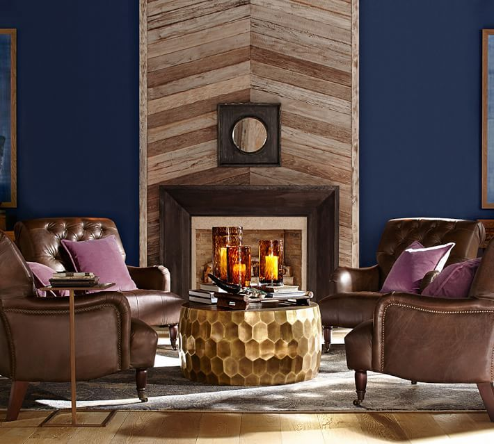 Wood Floor Wood Wall With Leather And Modern Gold Table