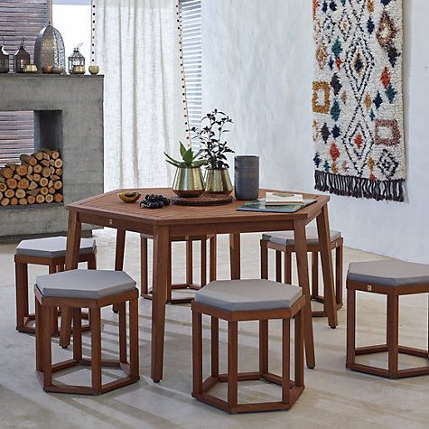 John Lewis Venice 6 Seater Hexagonal Dining Table Chairs Set