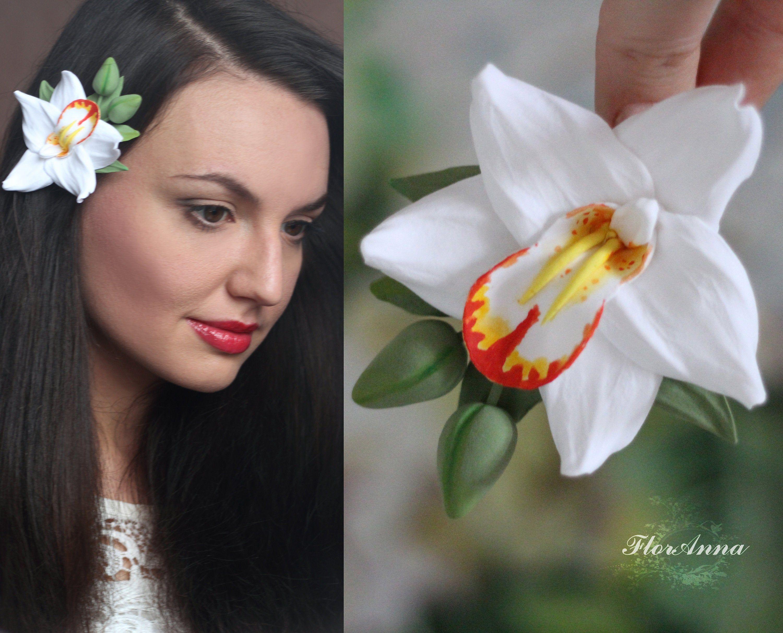 Hawaii Hair Flower Clip White Orchid Flower Hair Clip Etsy In 2020 Flower Hair Accessories Wedding Flowers In Hair Wedding Hair Clips