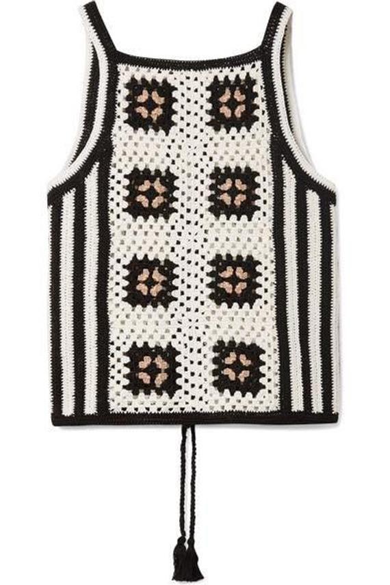 Top de ganchillo colorido de verano con motivos cuadrados, acogedor vestido, ropa de playa, ideas regalo, top con flecos