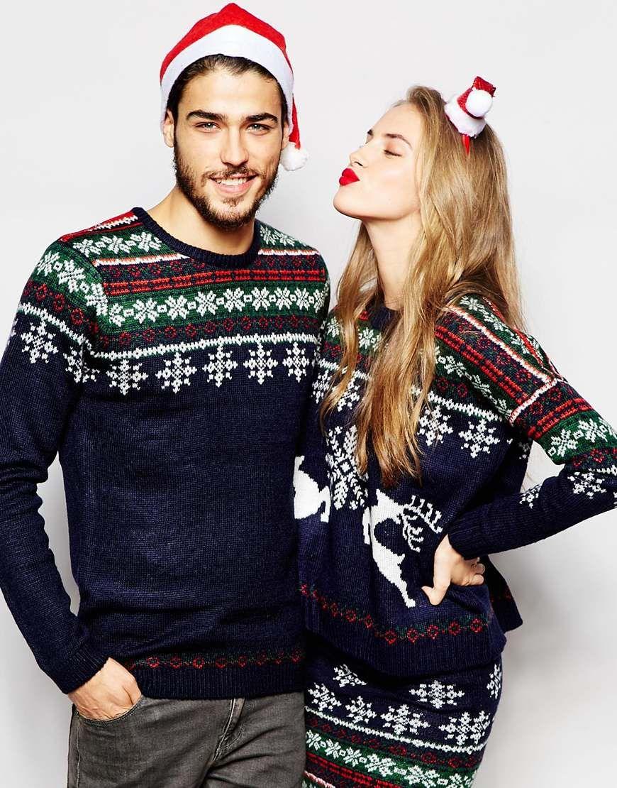 ASOS Holidays Sweater with Snowflake Fairisle