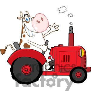 Cartoon Cow Driving A Tractor Clipart Royalty Free Clipart 384236