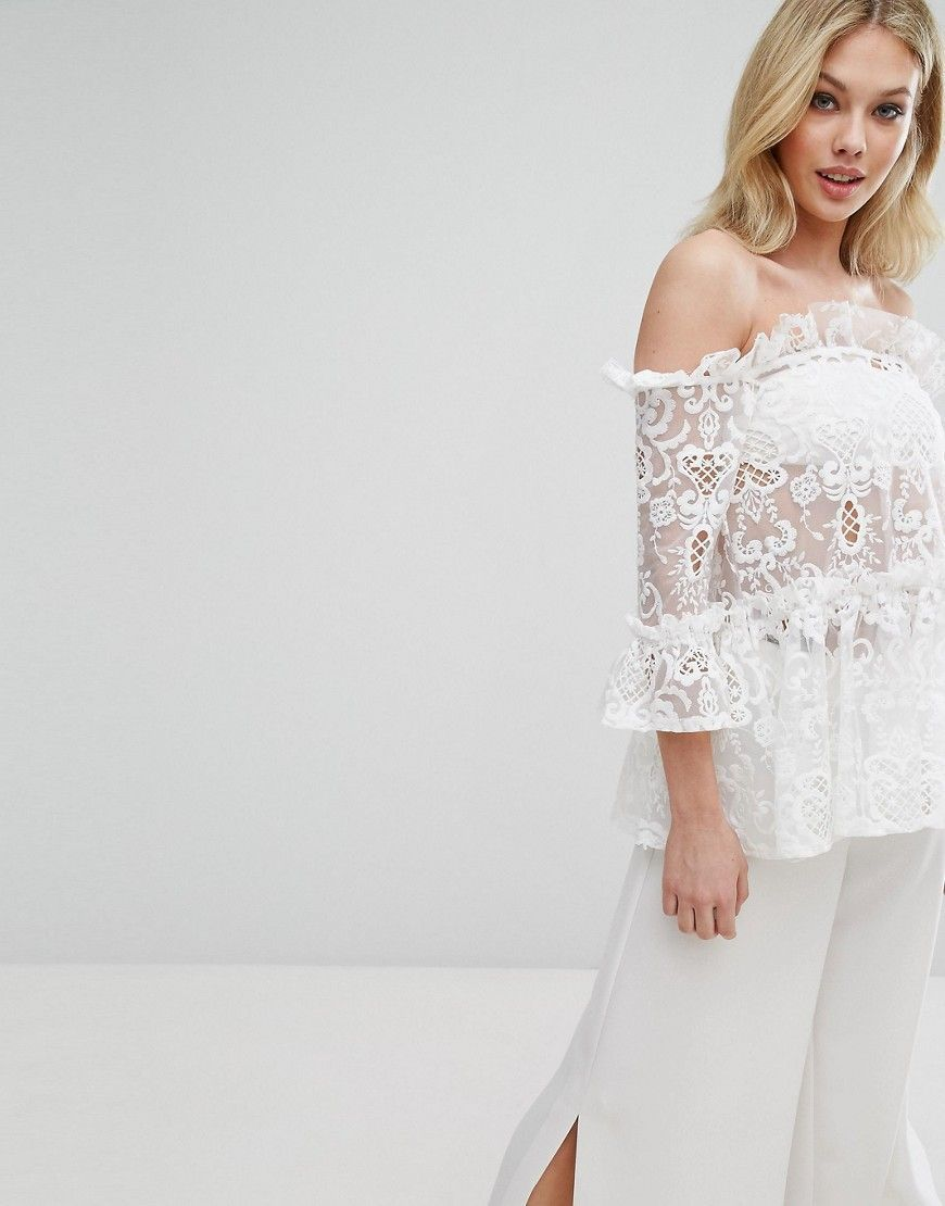 759d46baa1ee89 Buy it now. Missguided Ruffle Lace Bardot Top - White. Top by ...