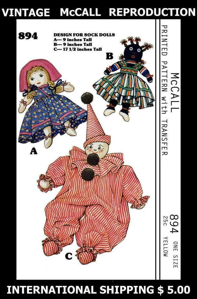 Vint 40s McCALL BLACK AMERICANA PICCANINNY & CLOWN SOCK DOLLS Fabric ...
