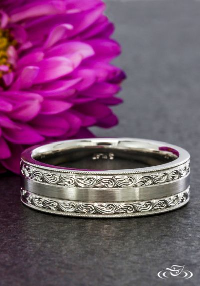 Scroll Engraved Antique & Modern Wedding Band Green Lake Jewelry