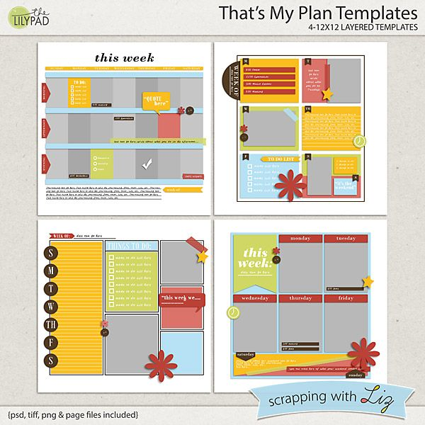 Here are four digital scrapbook templates Inspired by the planning