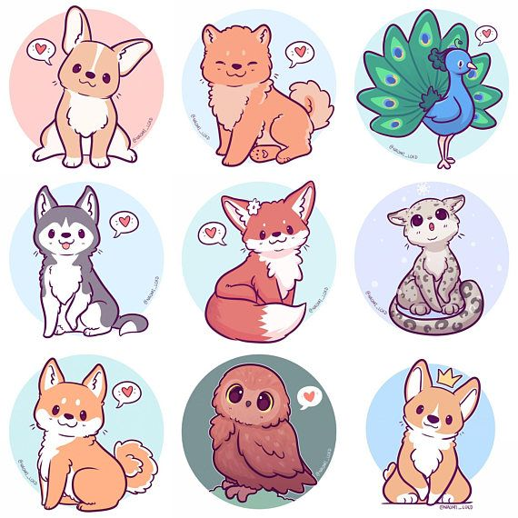 Image of: Fat Kawaii Animals Stickers Owl Snow Leopard Shiba Fox Husky Pinterest Kawaii Animals Stickers Owl Snow Leopard Shiba Fox Husky