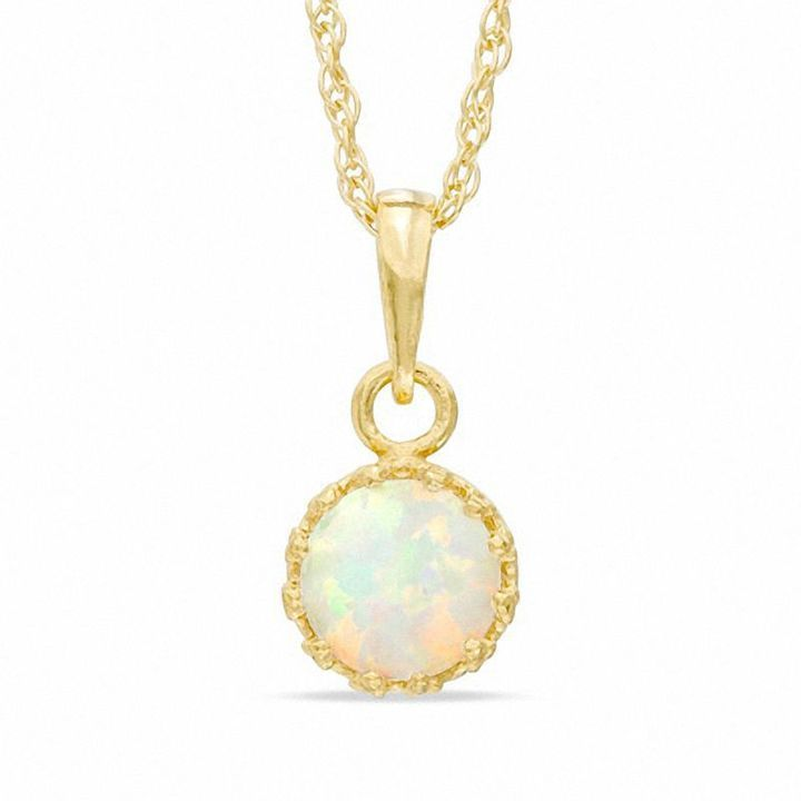 Fine Jewelry Lab-Created Opal & Lab-Created White Sapphire 14K Gold Over Silver Pendant Necklace uWXTvqab
