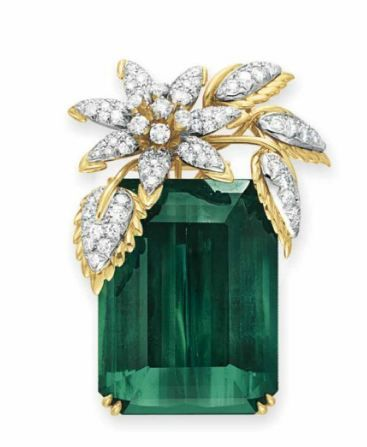 Tourmaline and Diamond 'Four Leaves' Brooch, Schlumberger for Tiffany