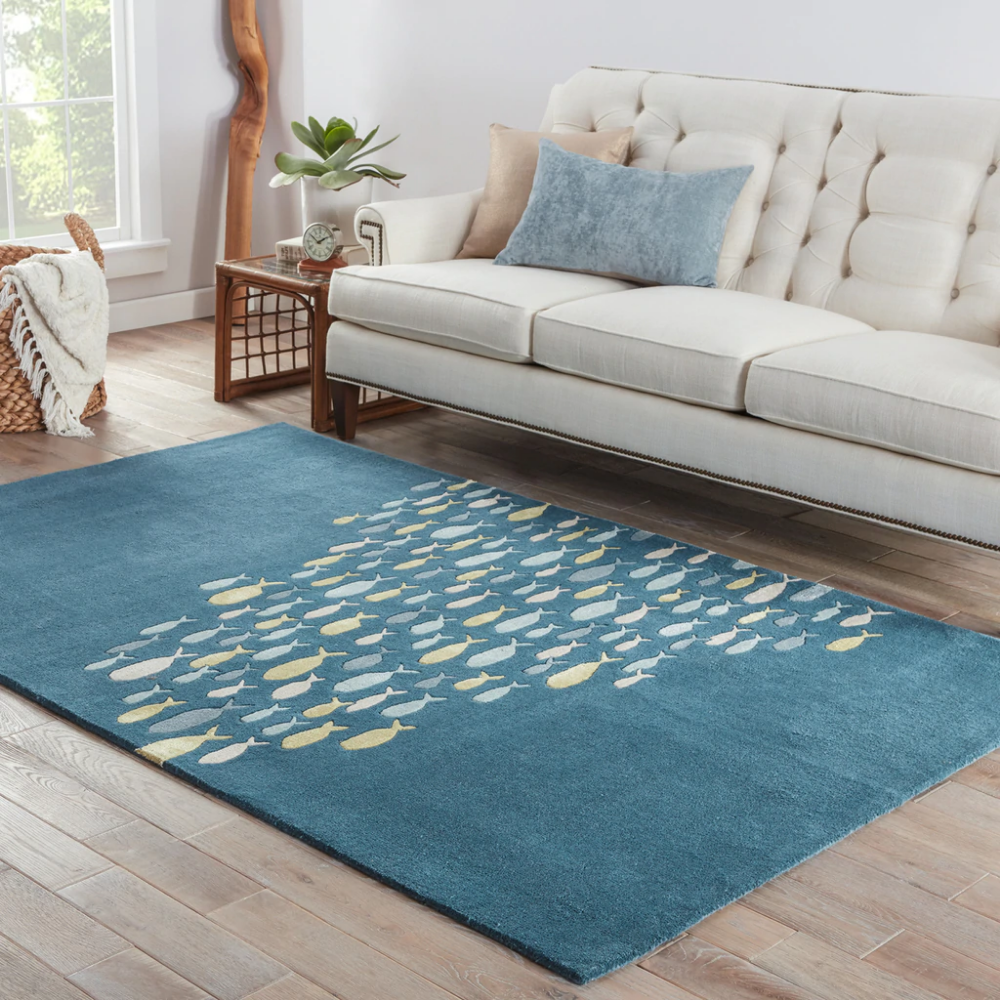 Captain S Blue Go Fish Wool Area Rug