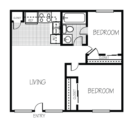 Image result for 600 sq ft living space floor plan 2 bed 1 House plans with 2 bedrooms in basement