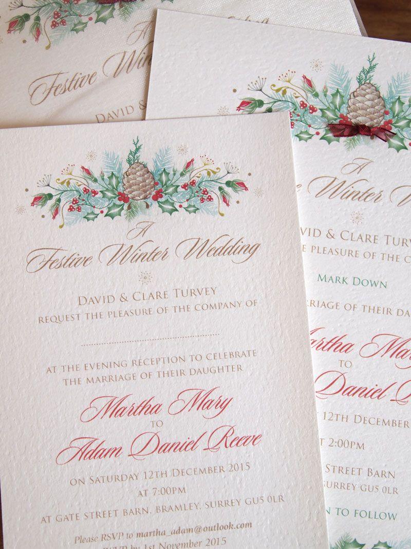 Christmas Wedding Invitation - Evening Invite - Festive Rose design ...