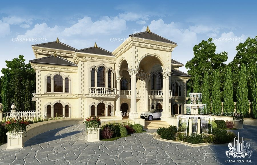 Exterior villa beautiful houses pinterest wall for Modern arabic house architecture