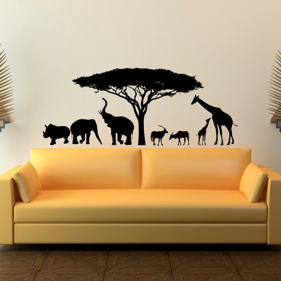 animal wall decal stickers- safari wall decal wild animals- jungle