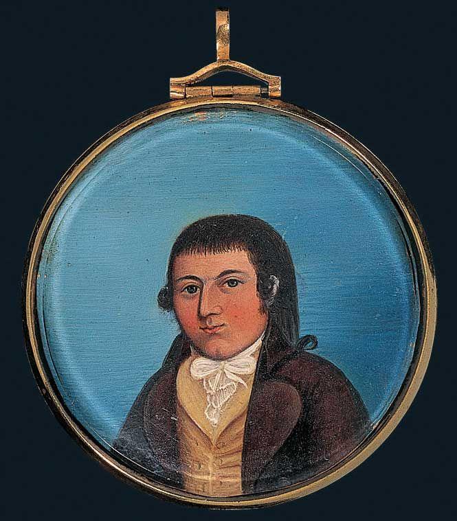 THOMAS WINSOR MINIATURE Rufus Hathaway (1770–1822) Duxbury, Massachusetts 1797 Oil on ivory, in gold locket 2 3/8 in. diam. American Folk Ar...