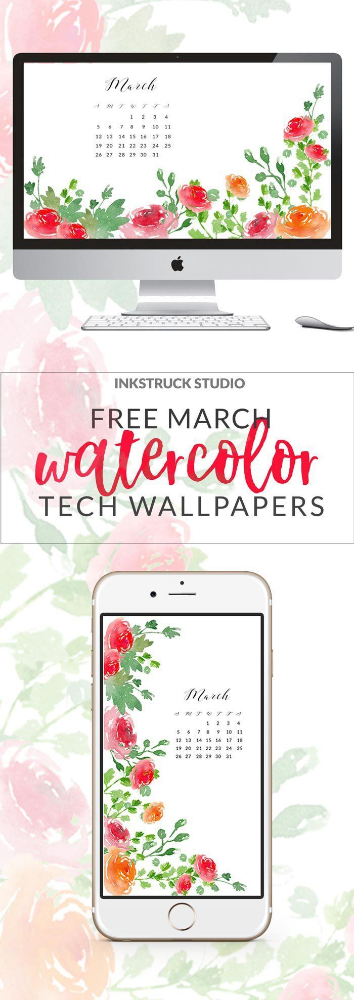 Time to change your tech wallpapers for March! And to make it pretty I have these March watercolor wallpapers for you on the blog. Click to download | http://www.inkstruck.com