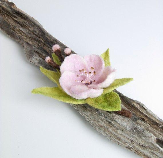 Felt Flower Brooch - Needle Felted Brooch via Etsy