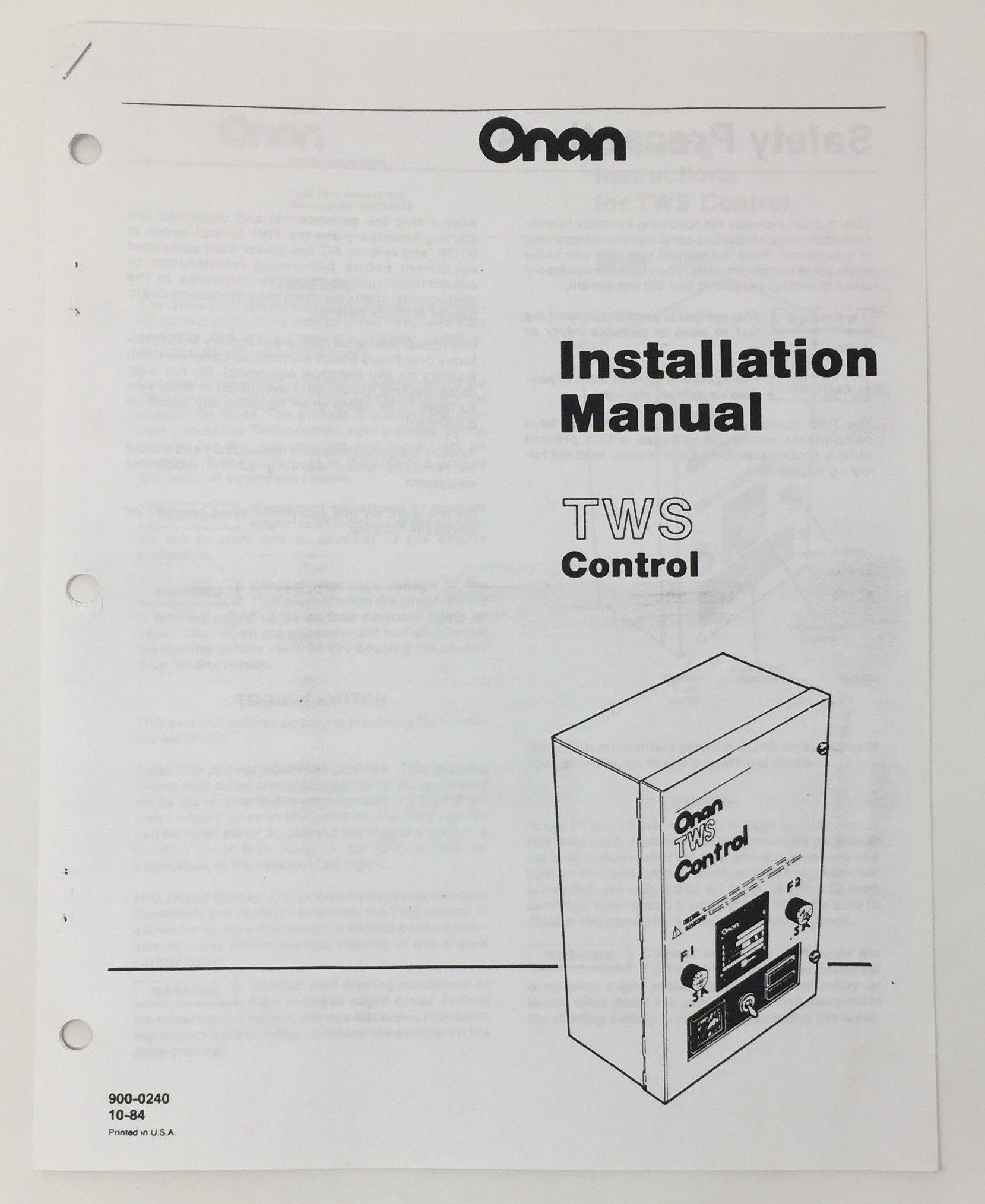Onan Tws Control Insallation Manual 900 0240 10 84 Copy Onan Manual Control