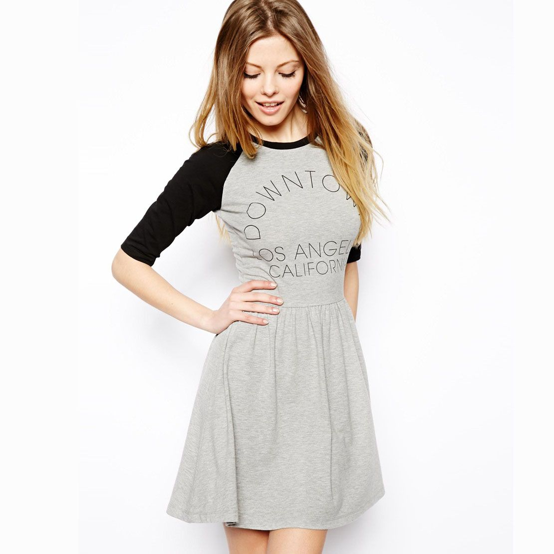 Fashion preppy style light grey black half sleeve loose letter print  one-piece dress haoduoyi knitted 612,28 руб.