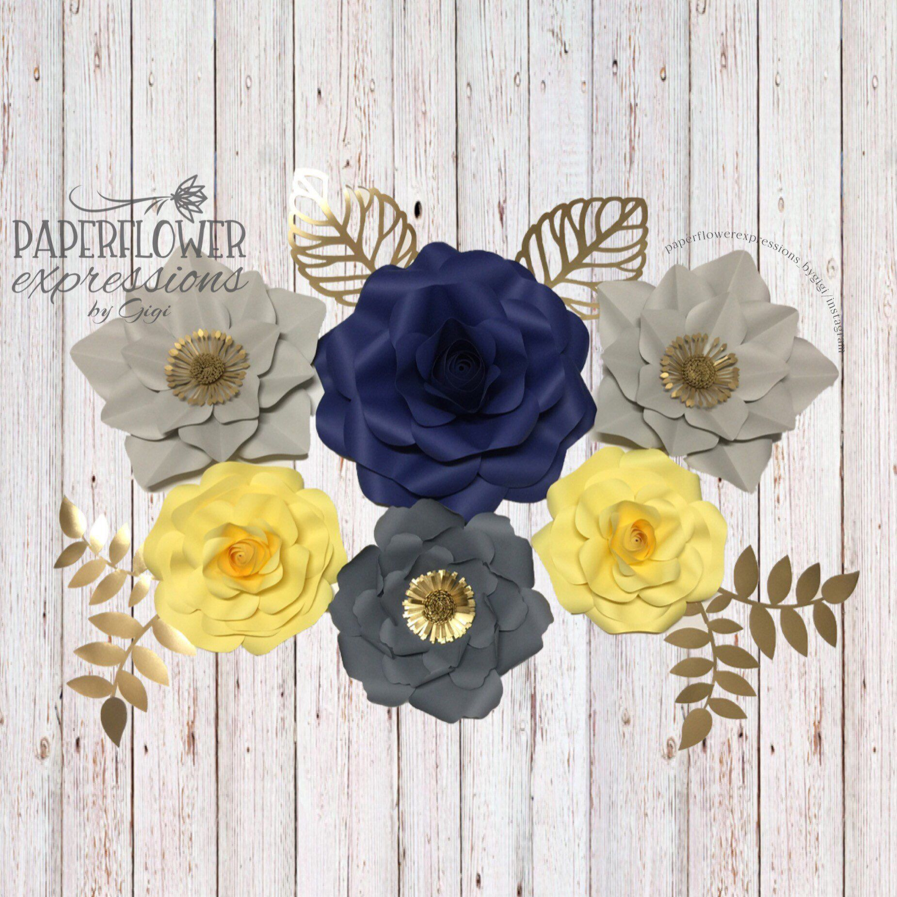 6 pc Set Gray, Yellow and Blue Large Paper Flowers | Nursery Wall Decor | Floral Wedding Decor | Giant Paper flower backdrop #constructionpaperflowers