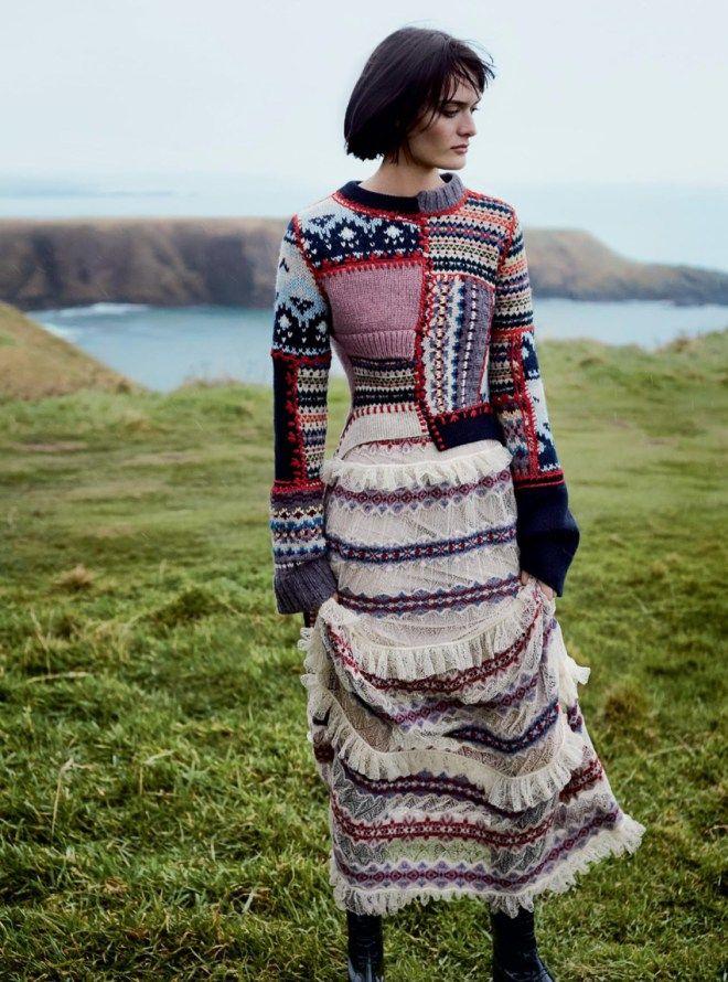 knitGrandeur Fair Isle Patchwork-Harper's Bazaar UK F/W 2017 ...