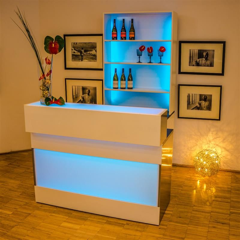event led theke flex white event bar buffet wohnzimmer theken und bar. Black Bedroom Furniture Sets. Home Design Ideas