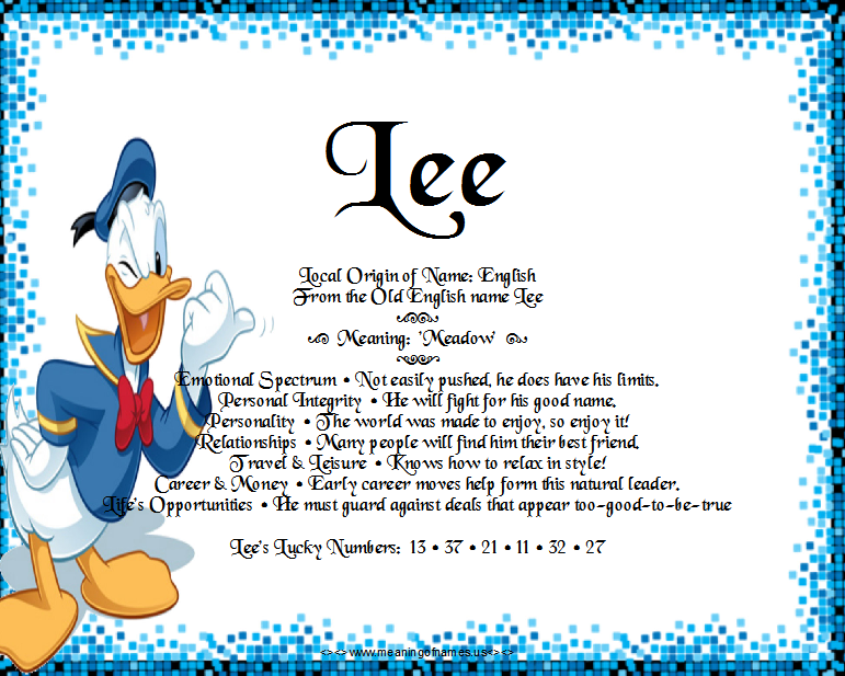 Lee – Name Meaning and Analysis | Angies Creation | Names