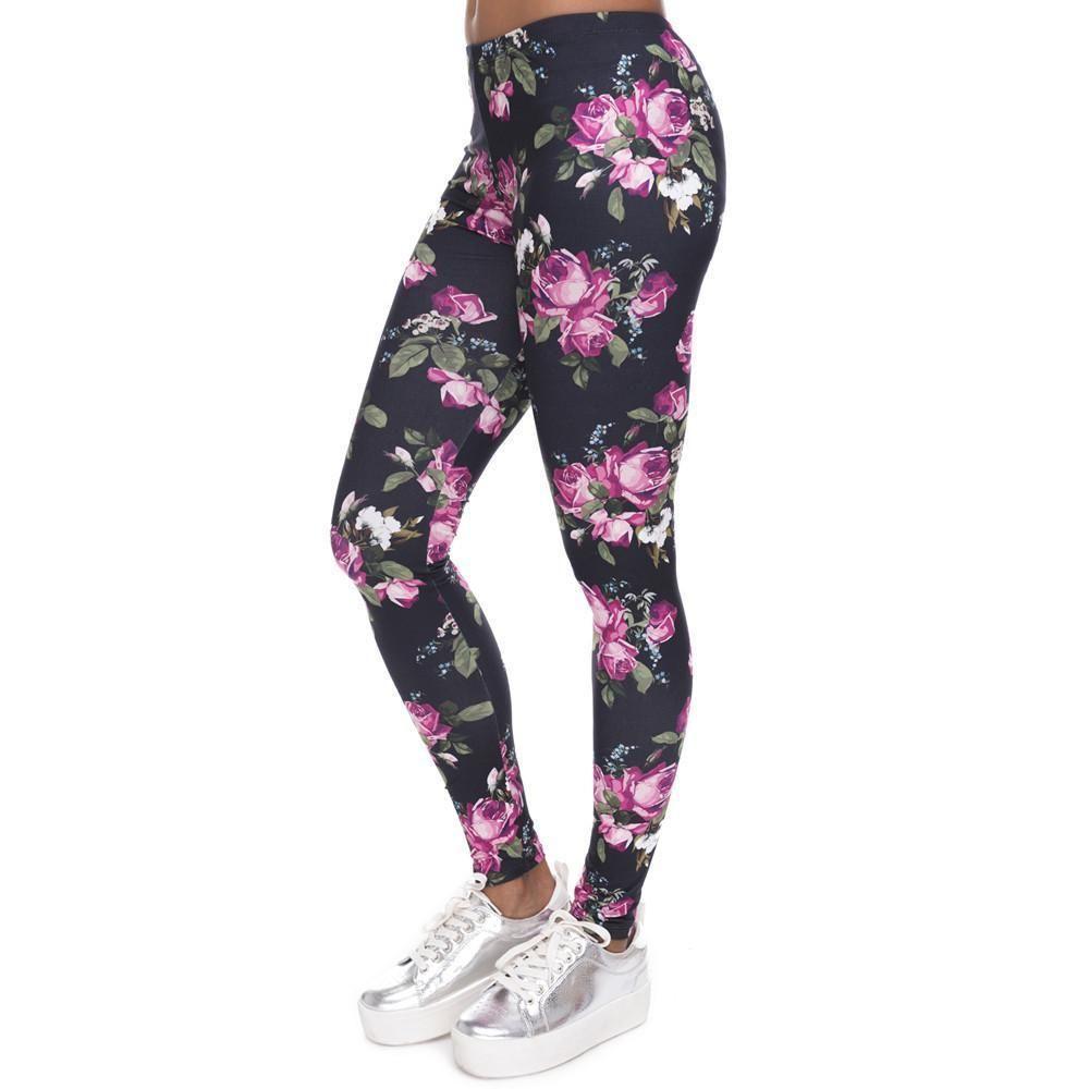 Womens New GALAXY Printed Fashion Leggings Pants  Gray S M L