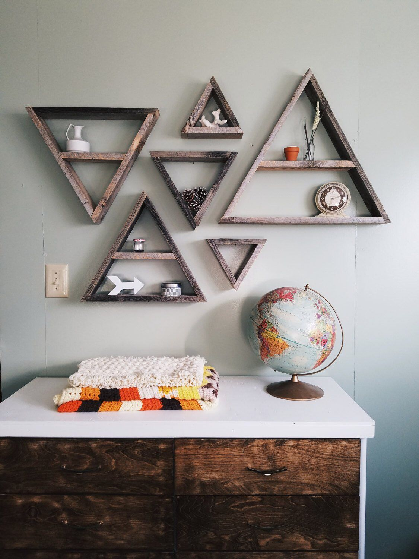 Triangle Shelf Set Triangle Shelves Rustic Home Decor Rustic