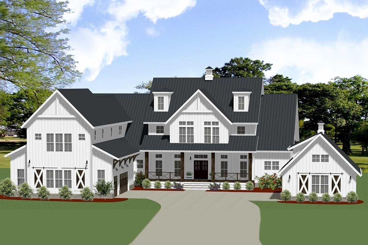 Plan 46395LA Modern Farmhouse with Flexible Secondlevel