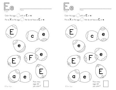 e letter identification free worksheet teaching the alphabet. Black Bedroom Furniture Sets. Home Design Ideas