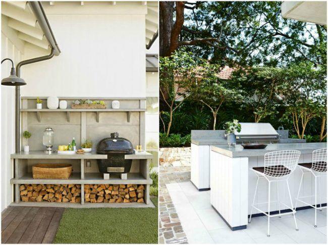 ideen für den garten outdoor-küche-beton-bar-schnittholz-lagerung, Garten und erstellen