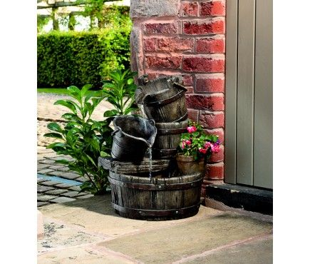 Cascading Barrels Outdoor Fountain Water Feature (not solar powered though) - Garden Selections £99.99