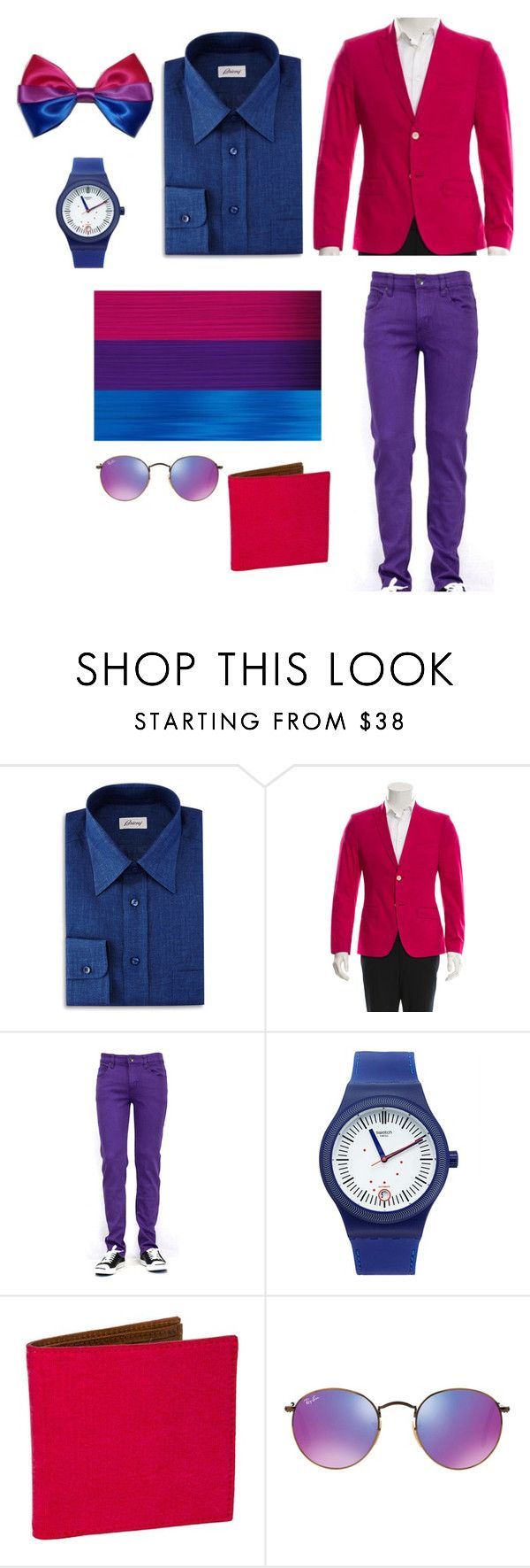 """""""Bisexual pride"""" by littleapplecat ❤ liked on Polyvore featuring Brioni, Kenzo, Swatch, 40 Colori, Ray-Ban, men's fashion, menswear, pride, bisexual and Bisexualityexists"""