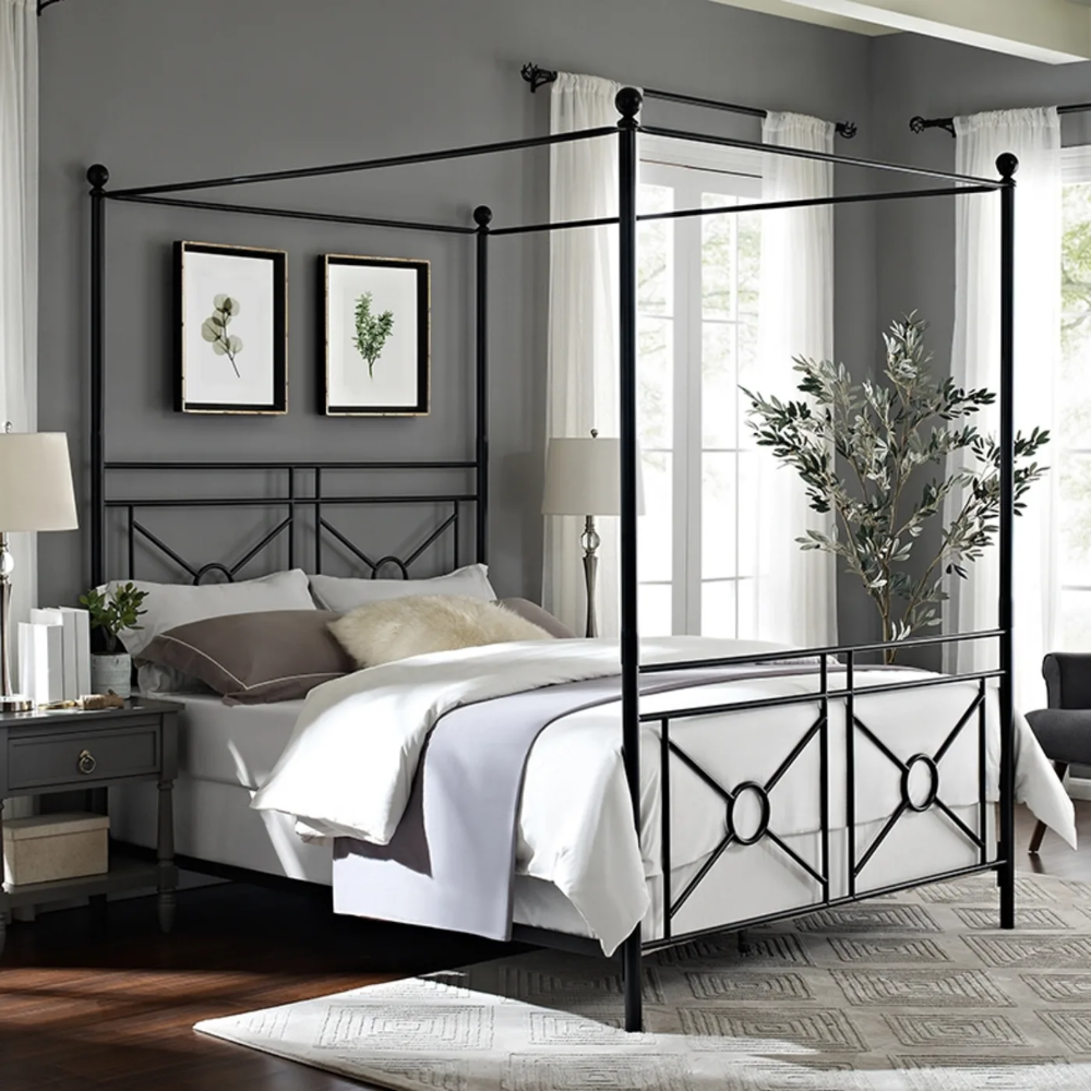 Crosley Montgomery Black King Canopy Bed & Reviews