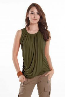 Mothers En Vogue Goddess Drape Sleeveless Nursing Top, Olive Green - Izzy's Mum Breastfeeding Clothing