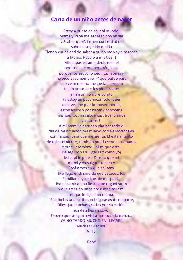 Carta De Un Niño Antes De Nacer Baby Shower Unisex Actividades Para Baby Shower Boy Baby Shower Ideas