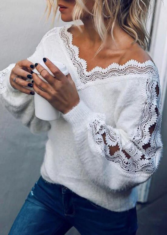 Lace Splicing Hollow Out Plush Blouse - White #Blouse #Hollow #lace #Plush #Splicing #White