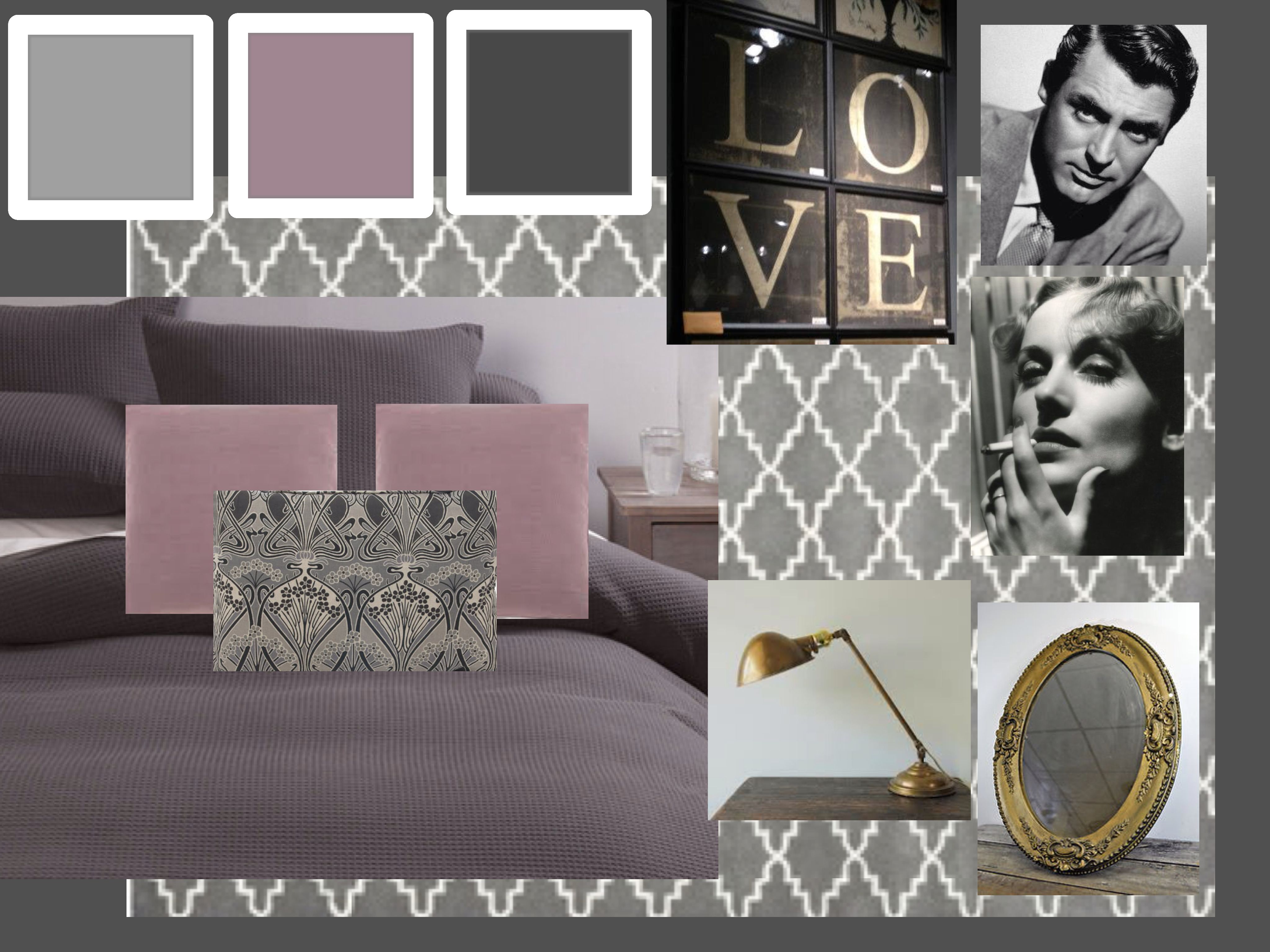 French Industrial Inspired Bedroom Interior Decor Mood Board. Charcoal And  Dusty Pink. #grey