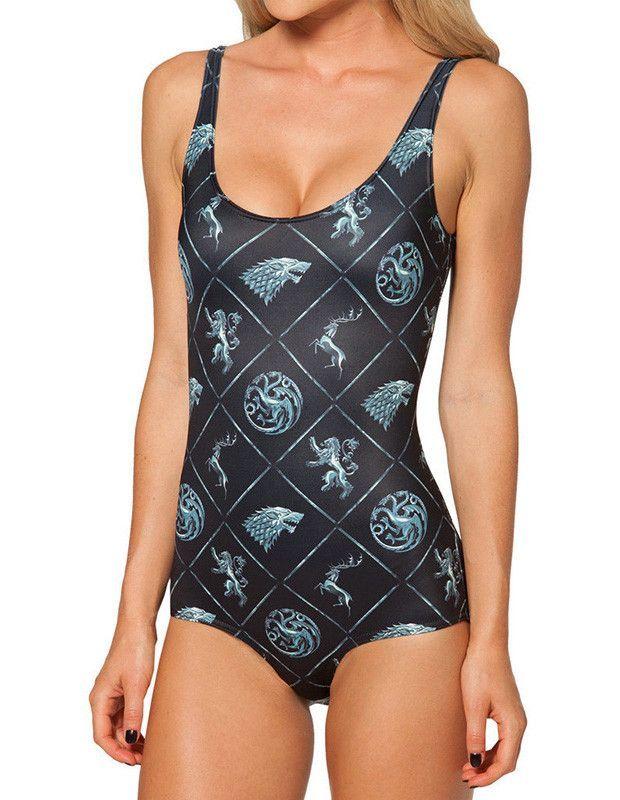fc587728027a7 Game Of Thrones Print Slim Womens Animal Monokini Swimsuit | Game of ...