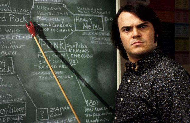 Dewey Finn (as Mr. Ned Schneebly) — School of Rock | School of rock, Facts about school, Parent teacher interviews