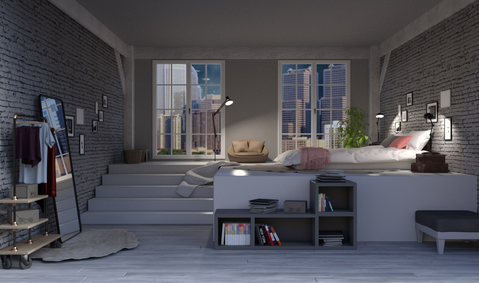 Int Loft Bedroom Full View Night Episode Background In 2019