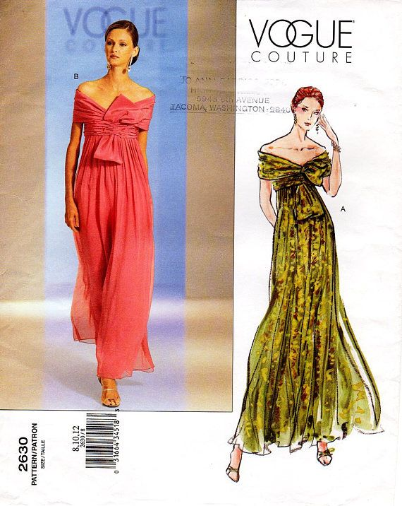 Sz 8 10 12 - Vogue Evening Dress Pattern 2630 - Misses  Off-The-Shoulders  Evening or Maxi Dress with Front Bow - Vogue American Designer c3437a2dbc1a