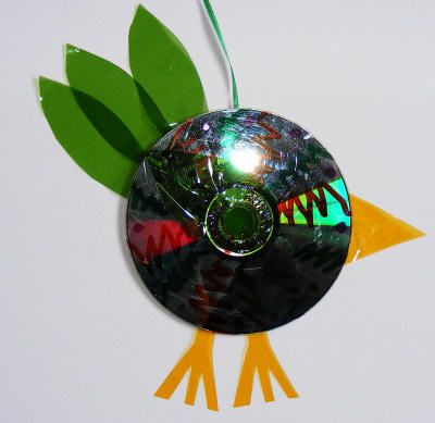 Recycled CD bird craft #recycledcd